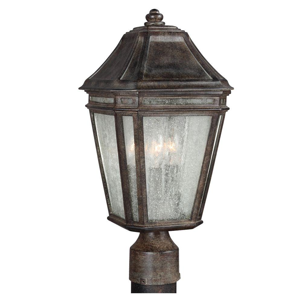 Feiss Londontowne 3-Light Weathered Chestnut Outdoor 14 in. Post Top Light