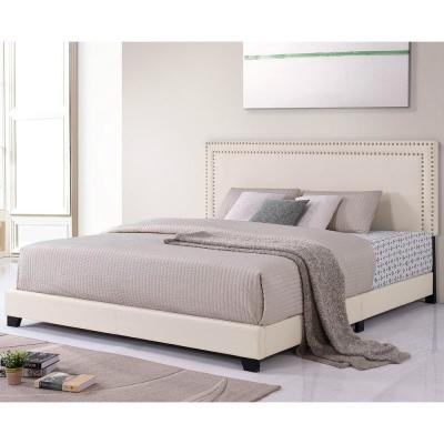 86 in. Beige King Size Milan Upholstered Platform Bed with Wooden Slats and Nailhead