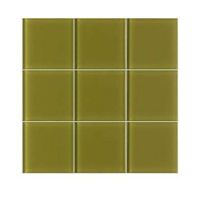 VitraArt Tranquil Sage 4 in. x 4 in. Glass Wall Tile (6 sq. ft. / case)