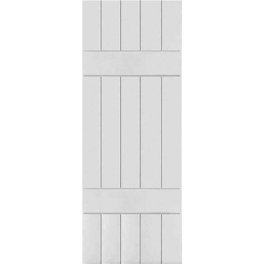 Ekena Millwork 18 in. x 43 in. Exterior Real Wood Western Red Cedar Board & Batten Shutters Pair Primed