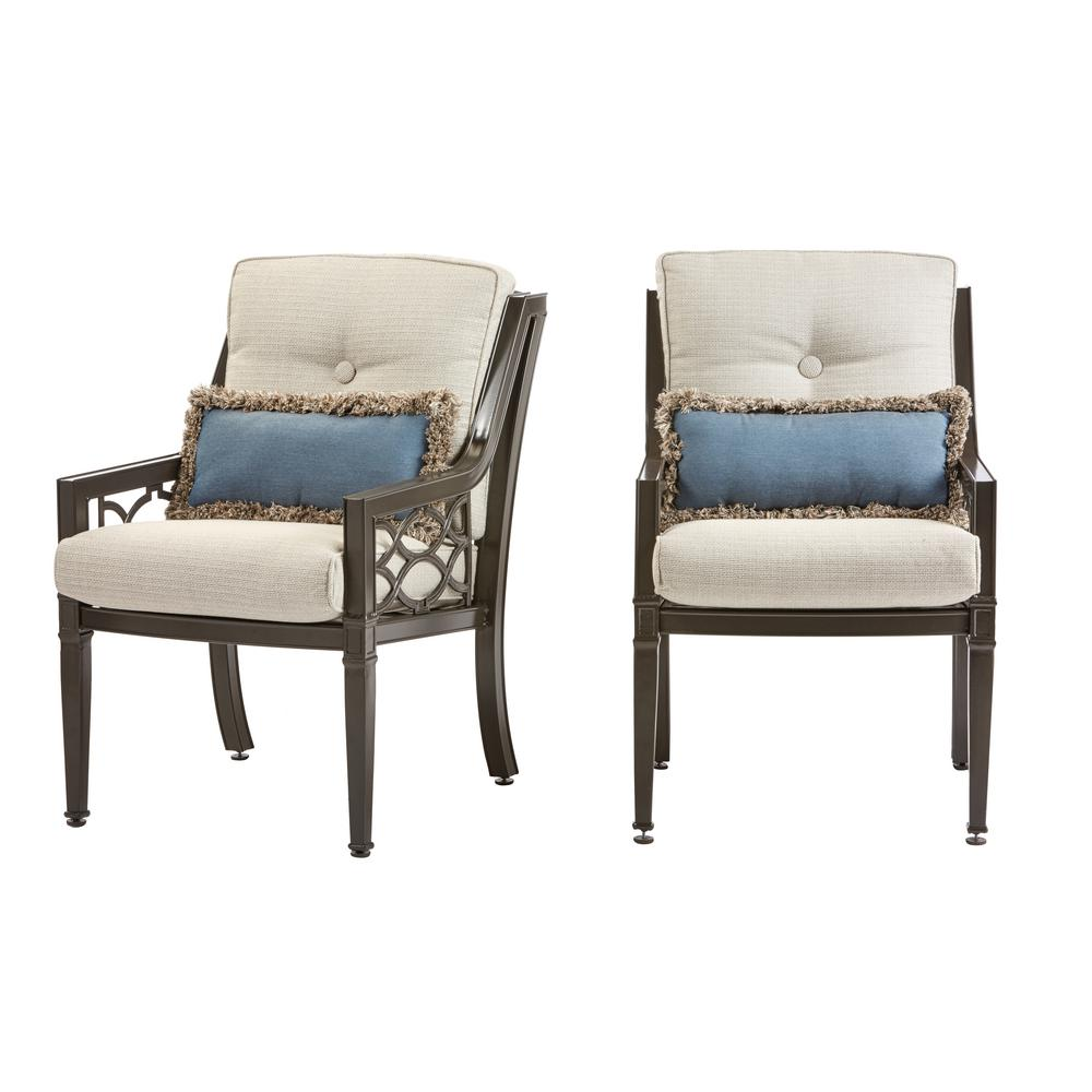 Richmond Hill 1-Pair Patio Dining Chairs with Hybrid Smoke Cushions (2-Pack)