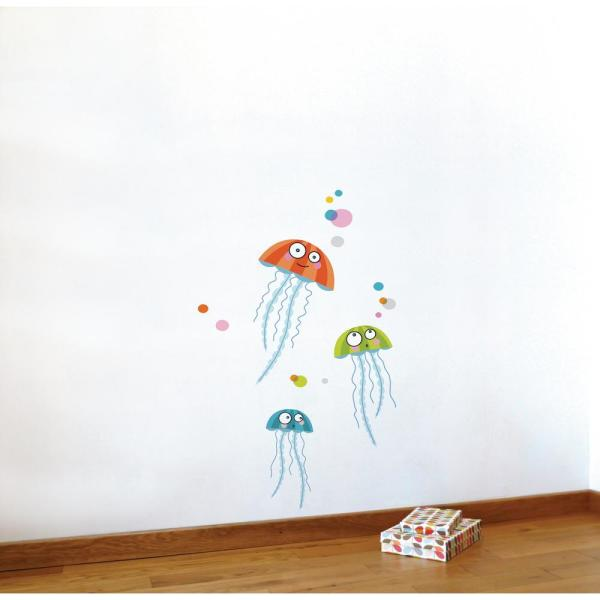 Adzif (21.2 in x 34.4 in) Multi-Color ''Jellyfishes'' Kids Wall Decal