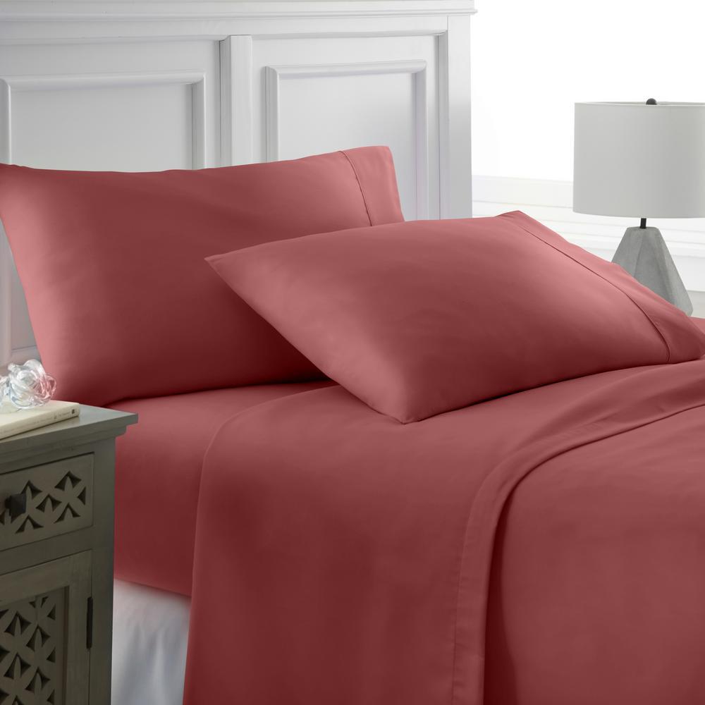 Becky Cameron Performance Burgundy Twin XL 4-Piece Bed Sheet Set IEH-4PC-TWXL-BU