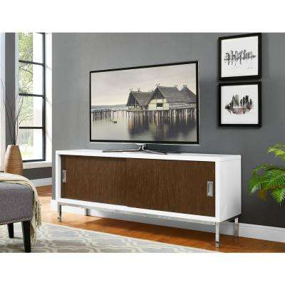 Manhattan White and Walnut with Sliding Doors 60 in. Entertainment Center