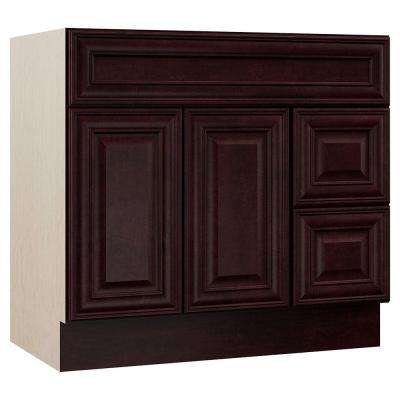 Oxford 36 in. W x 21.5 in. D x 33.5 in. H Bath Vanity Cabinet Only with Drawers on Right in Crimson