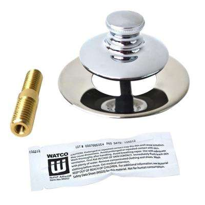 Universal NuFit Push Pull Bathtub Stopper, Silicone, 3/8 in. to 5/16 in. Combo Pin and Non-Grid Strainer, Chrome Plated