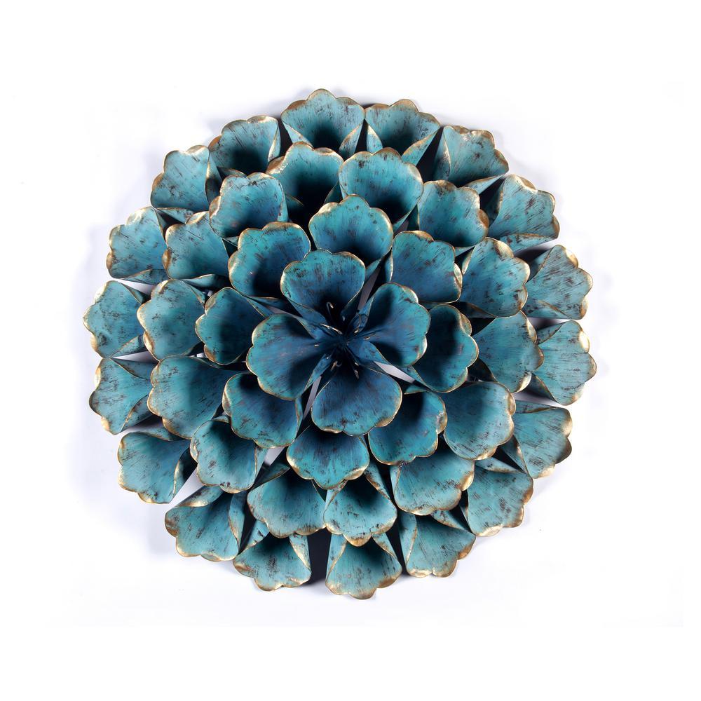 23.5 in. Dia Metal Teal Flower Wall Art