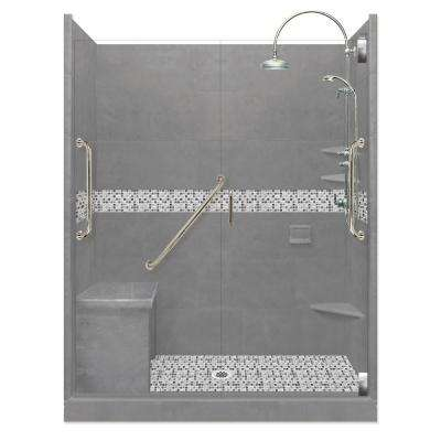 Del Mar Freedom Luxe Hinged 36 in. x 60 in. x 80 in. Center Drain Alcove Shower Kit in Wet Cement and Nickel Hardware