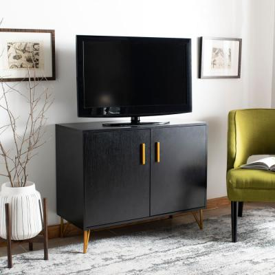 Pine Black/Gold 2-Door TV Stand