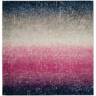 Madison Fuchsia/Navy 6 ft. 7 in. x 6 ft. 7 in. Square Area Rug