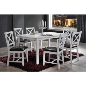 Indoor White And Black Cross Back 7 Piece Dining Set Solid Wood Rectangular Table