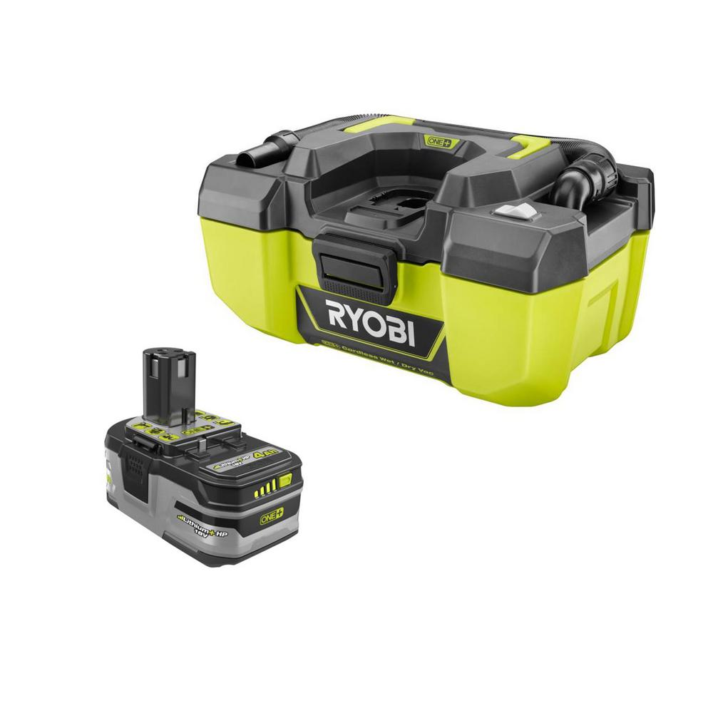 RYOBI 18-Volt ONE+ 3 Gal. Project Wet/Dry Vacuum w/Accessory Storage and Lithium-Ion 4.0 Ah LITHIUM+ HP High Capacity Battery, Greens was $198.0 now $129.0 (35.0% off)