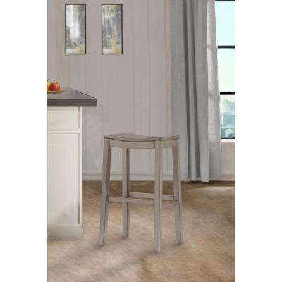 Fiddler Aged Gray Non Swivel Backless Bar Stool
