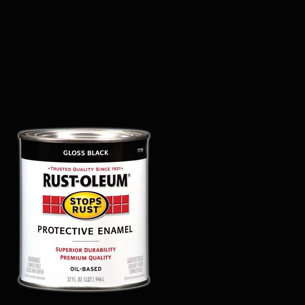 Rust Oleum Stops Rust 1 Qt Protective Enamel Gloss Black Interior Exterior Paint 2 Pack