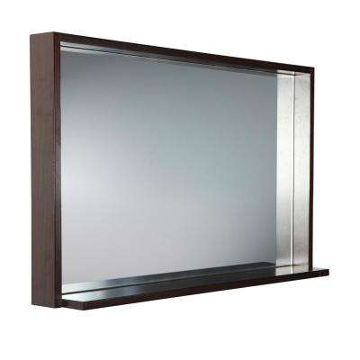 Allier 39 in. W x 25.50 in. H Framed Wall Mirror with Shelf in Wenge