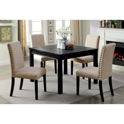 Kristie Antique Black Rustic Style Counter Height Table Set (5-Piece)