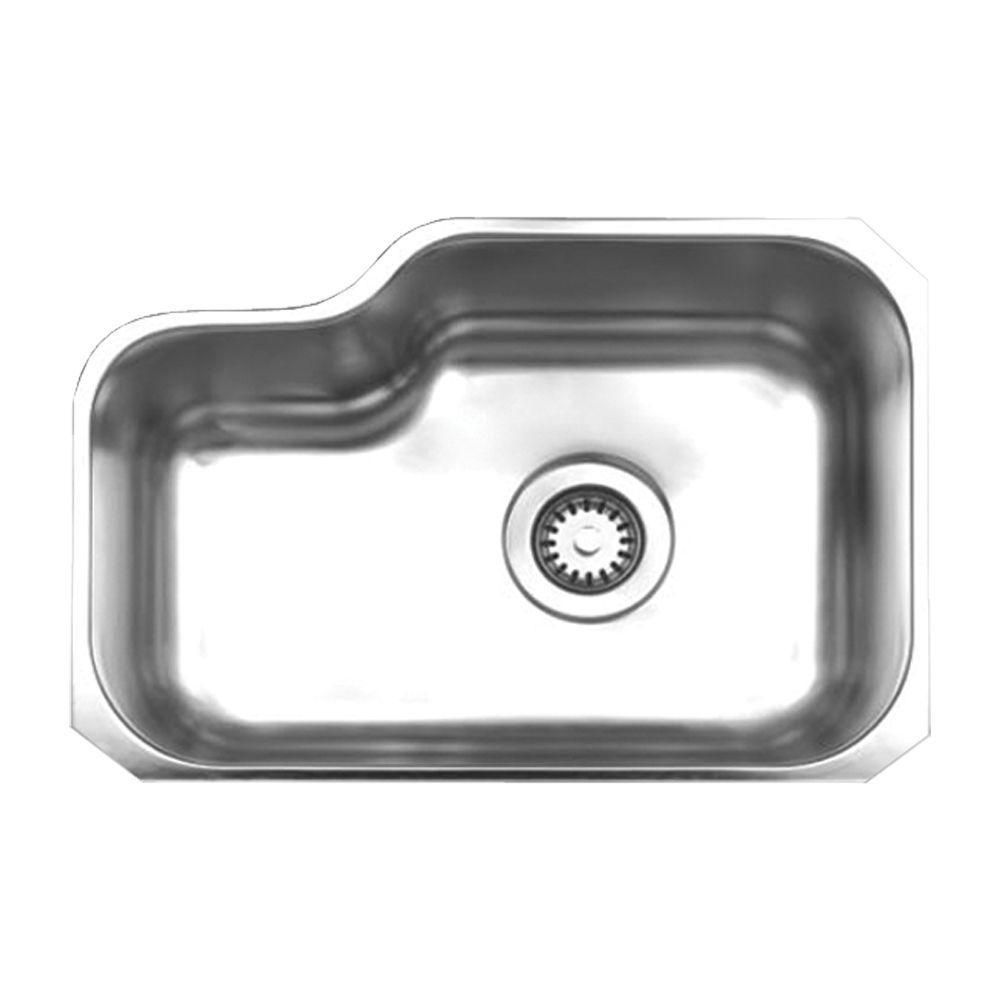 Noah's Collection Brushed Undermount Stainless Steel 21.875 in. 0-Hole Single