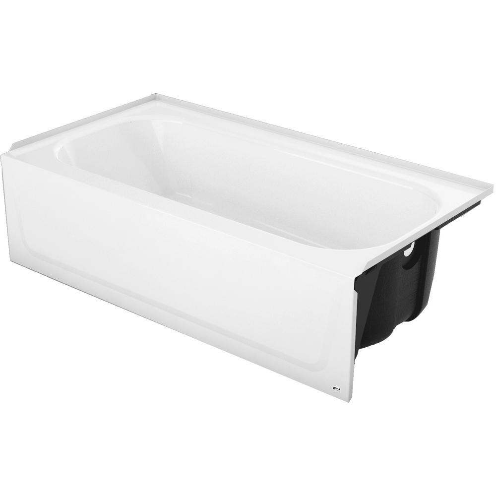 Mauicast Plus 60 in. Right Drain Rectangular Alcove Soaking Bathtub in White