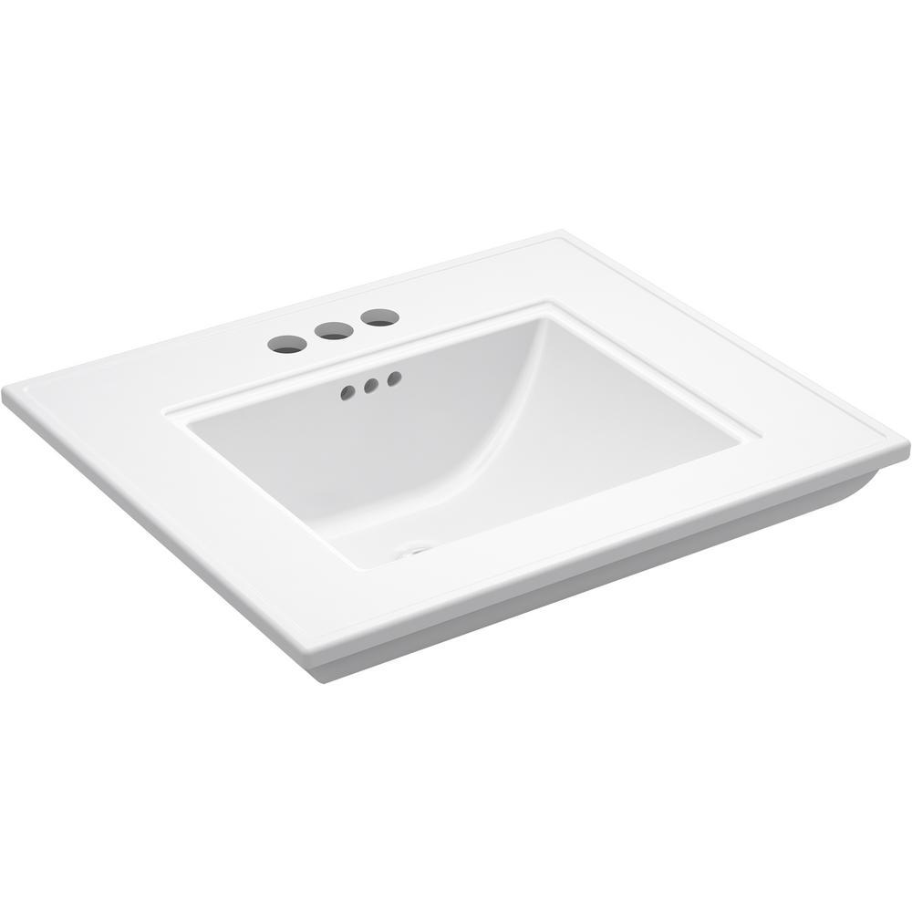 KOHLER Memoirs Stately 24.5 in. x  4 in. Centerset Console Sink Basin in White