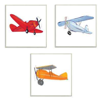 "12 in. x 12 in. ""Triple Colorful Airplanes Drawing"" by Sweet Pea Studio Printed Wood Wall Art"