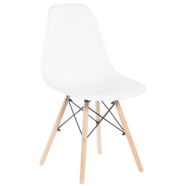 Bold Tones Mid Century Modern White Style Plastic Dsw Shell Dining Chair With Solid Beech Wooden Dowel Eiffel Legs Qi003746 Wt The Home Depot