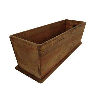 Newport 24 in. W x 8 in. D x 8 in. H Rectangular Tapered Wooden Brown Planter