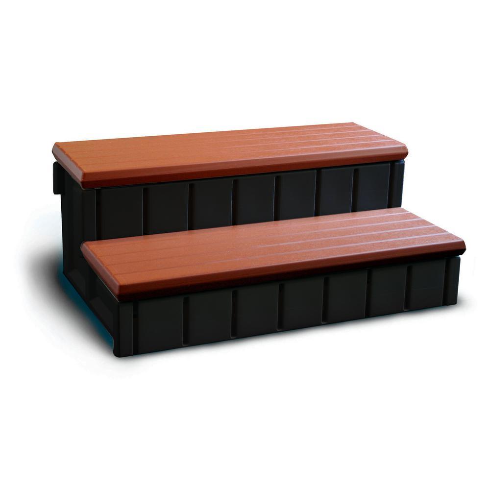 Spa Step with Redwood Storage