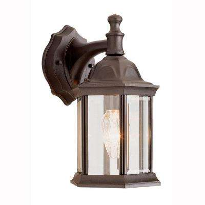 Pentagon 1 Light Outdoor Rust Coach Lantern With Clear Glass