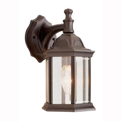 Pentagon 1-Light Outdoor Rust Coach Wall Lantern Sconce with Clear Glass