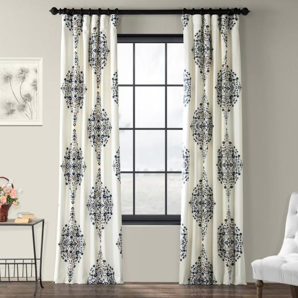 Kerala Blue Room Darkening Printed Cotton Twill Curtain - 50 in. W x 108 in. L