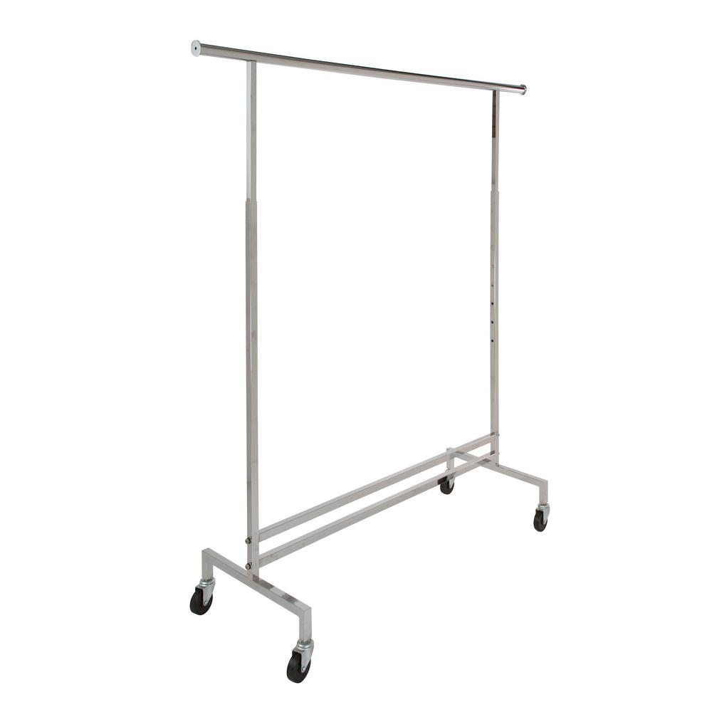 60 in. W x 74 in. H Chrome Rolling Garment Rack