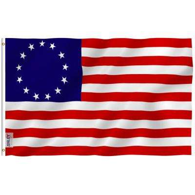 Fly Breeze 3 ft. x 5 ft. Polyester Betsy Ross Flag 2-Sided Flags Banner with Brass Grommets and Canvas Header