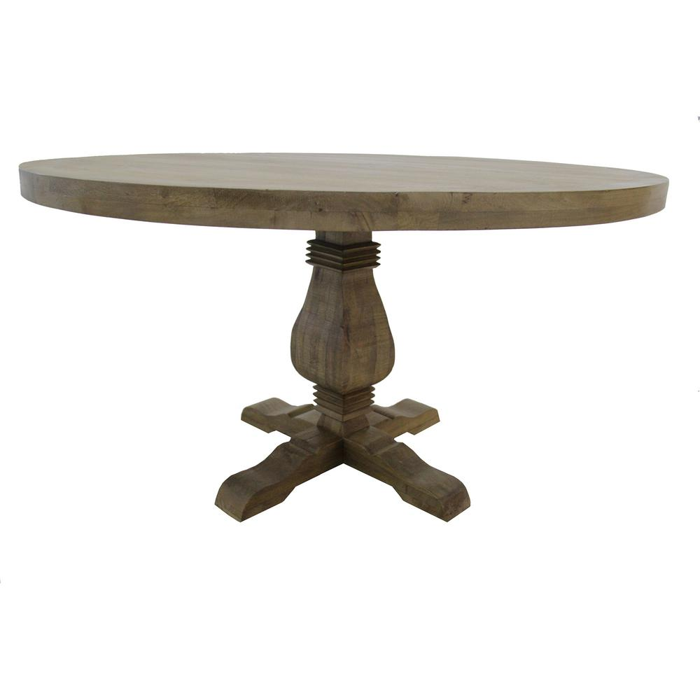 Unbranded 54 In Wide Natural Wood Farmhouse Style Round Dining Table Dtr The Home Depot