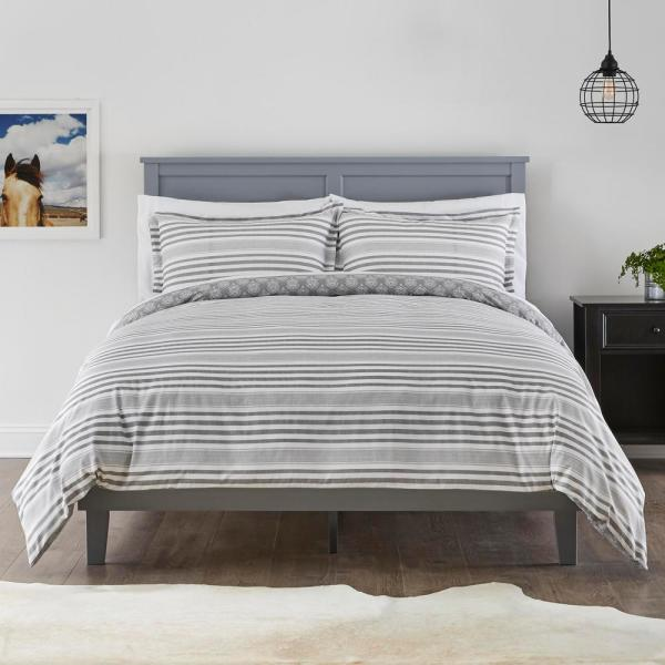 StyleWell Malcolm 3-Piece Stone Gray Stripe Full/Queen Duvet Cover Set
