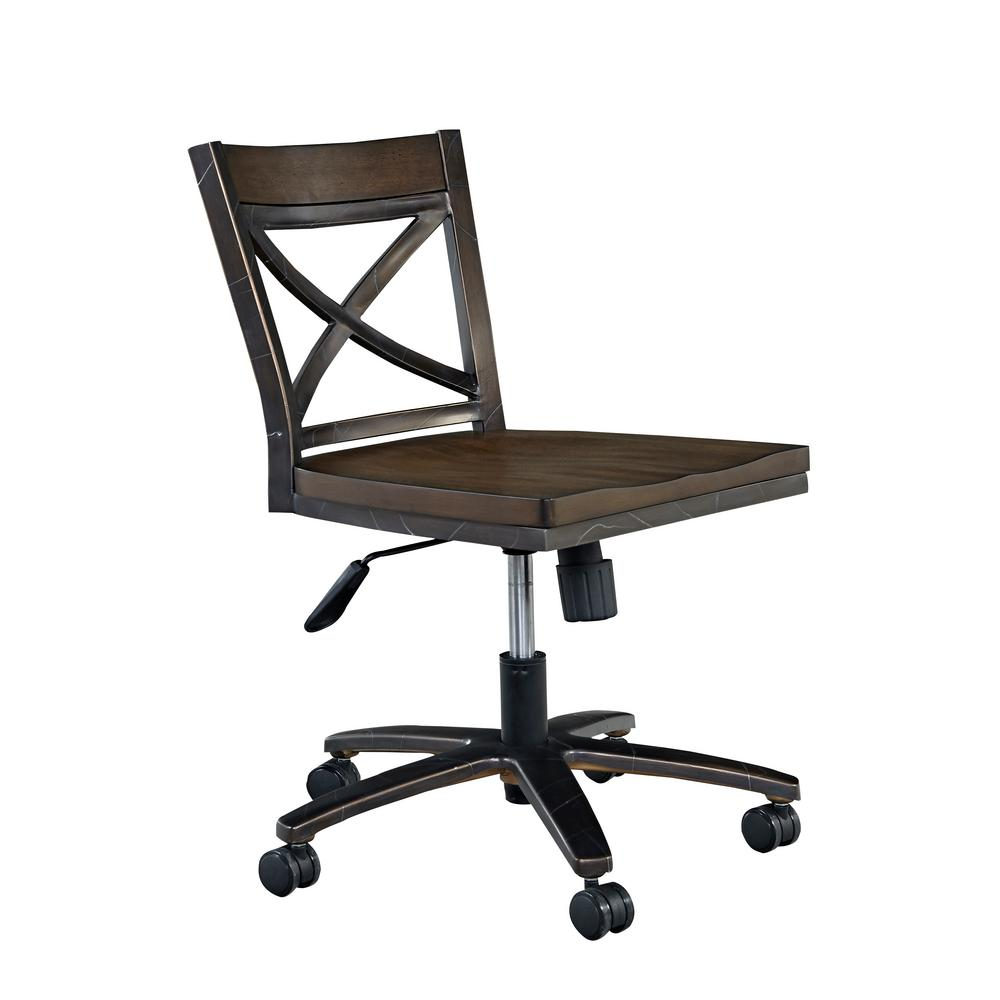 Xcel Mahogany & Copper Wood Swivel Office Chair