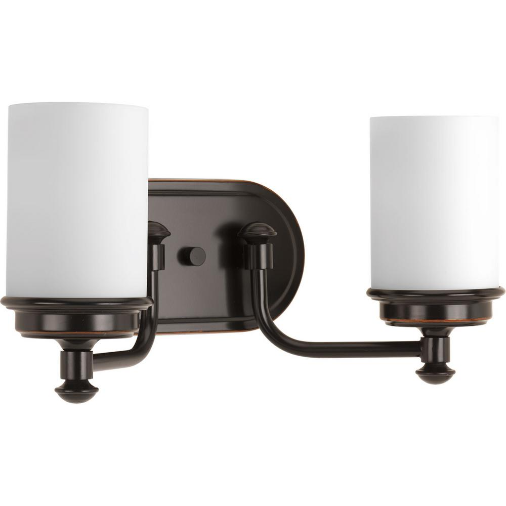 Glide Collection 2-Light Rubbed Bronze Vanity Light with Opal Glass Shades