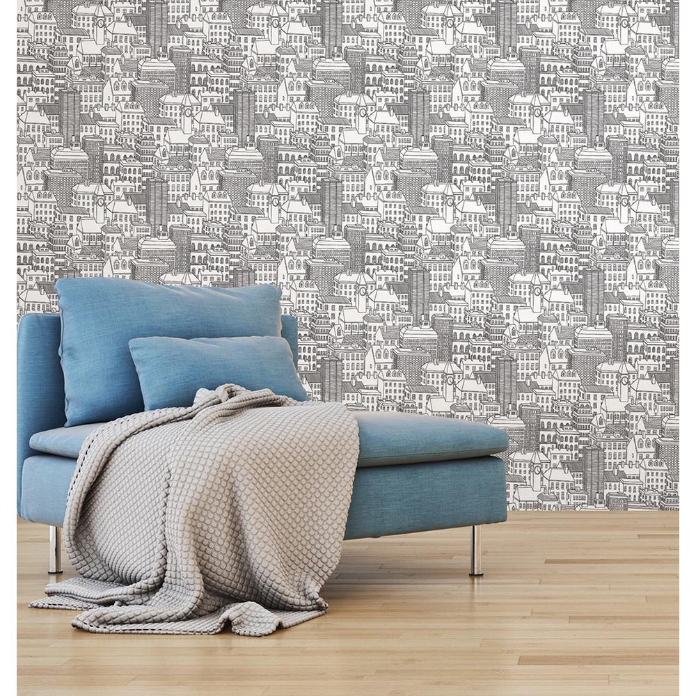 Black Metropolis Peel and Stick Wallpaper