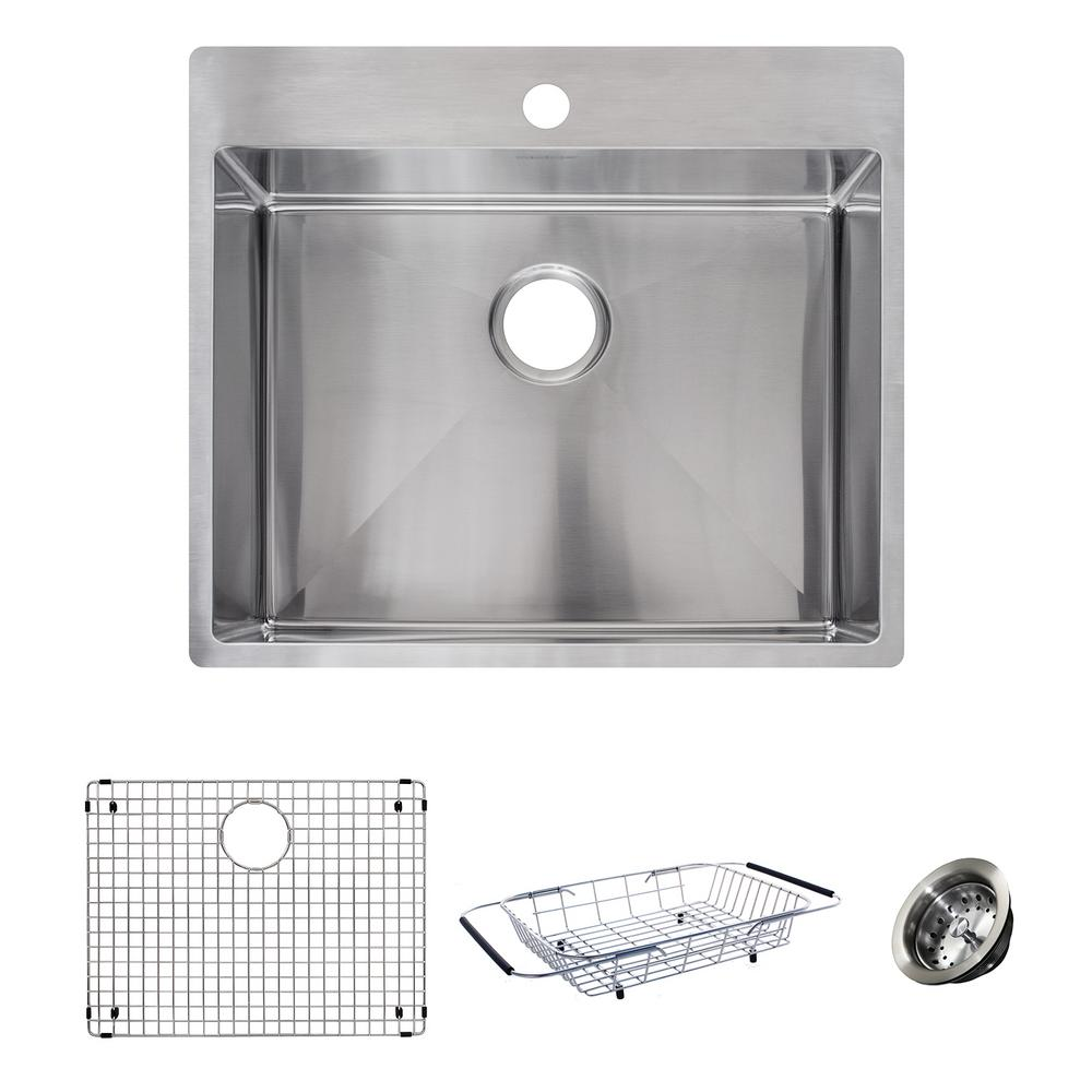 Franke Vector All-in-One Dual Mount Stainless Steel 25 in. 1-Hole ...