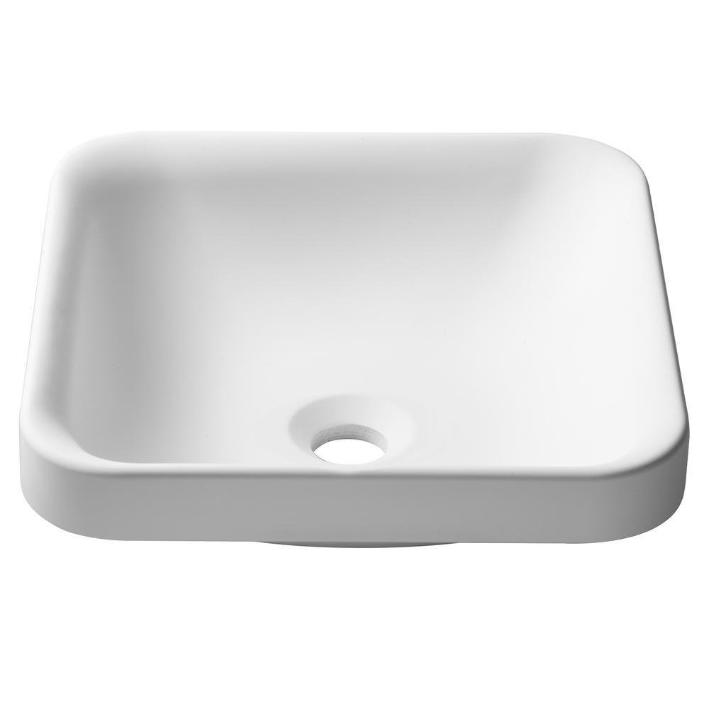 Natura Square Solid Surface Semi-Recessed Sink Basin in White