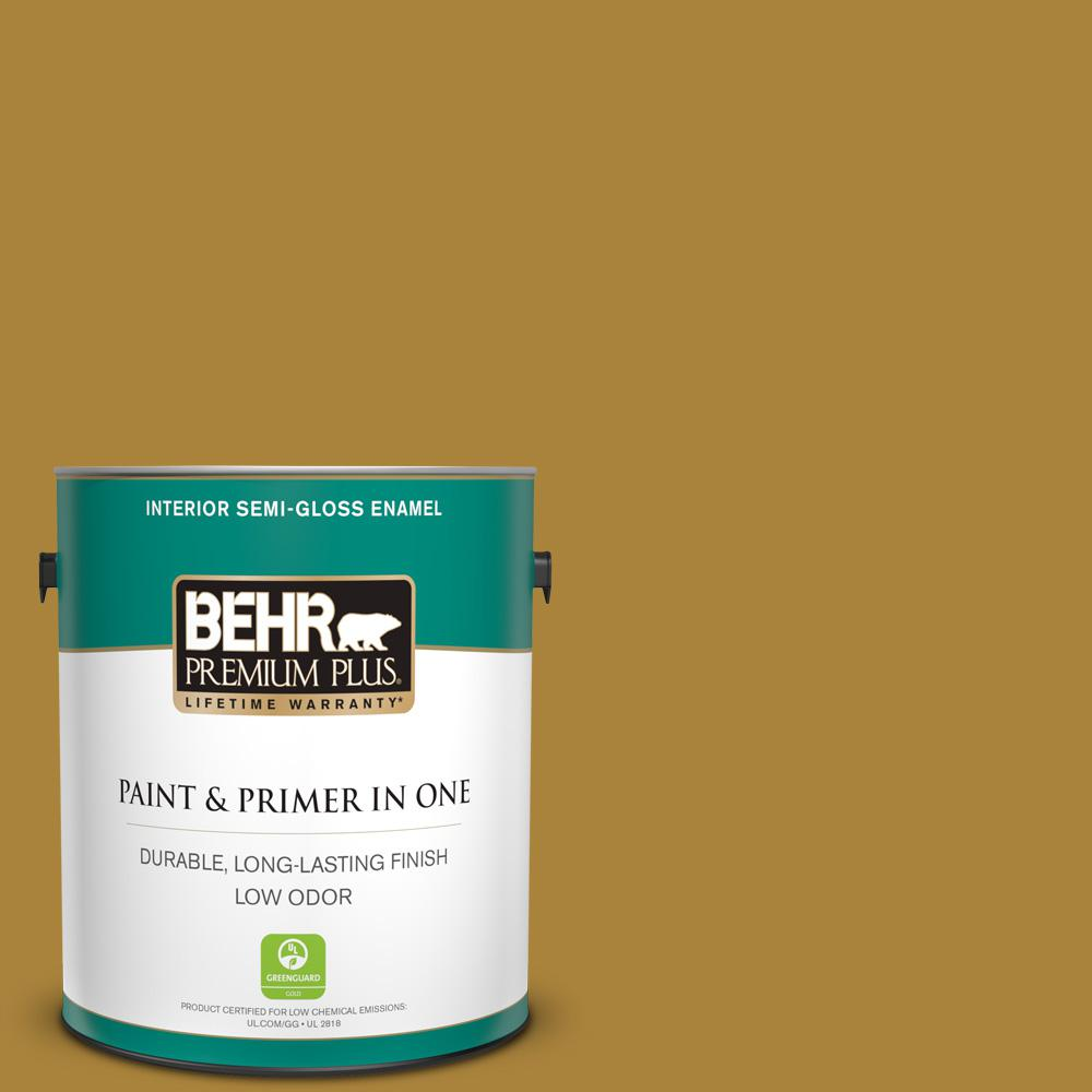 Behr Premium Plus 1 Gal 340d 7 Golden Green Semi Gloss Enamel Low Odor Interior Paint And Primer In One 330001 The Home Depot