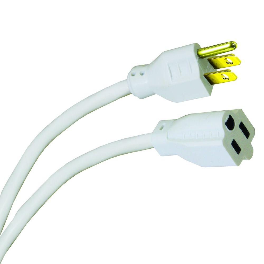 HDX 15 ft. 16/3 Indoor/Outdoor Extension Cord, White