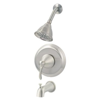 Tuscany Collection 1-Handle Tub and Shower Trim Kit in Brushed Nickel (Valve Not Included)