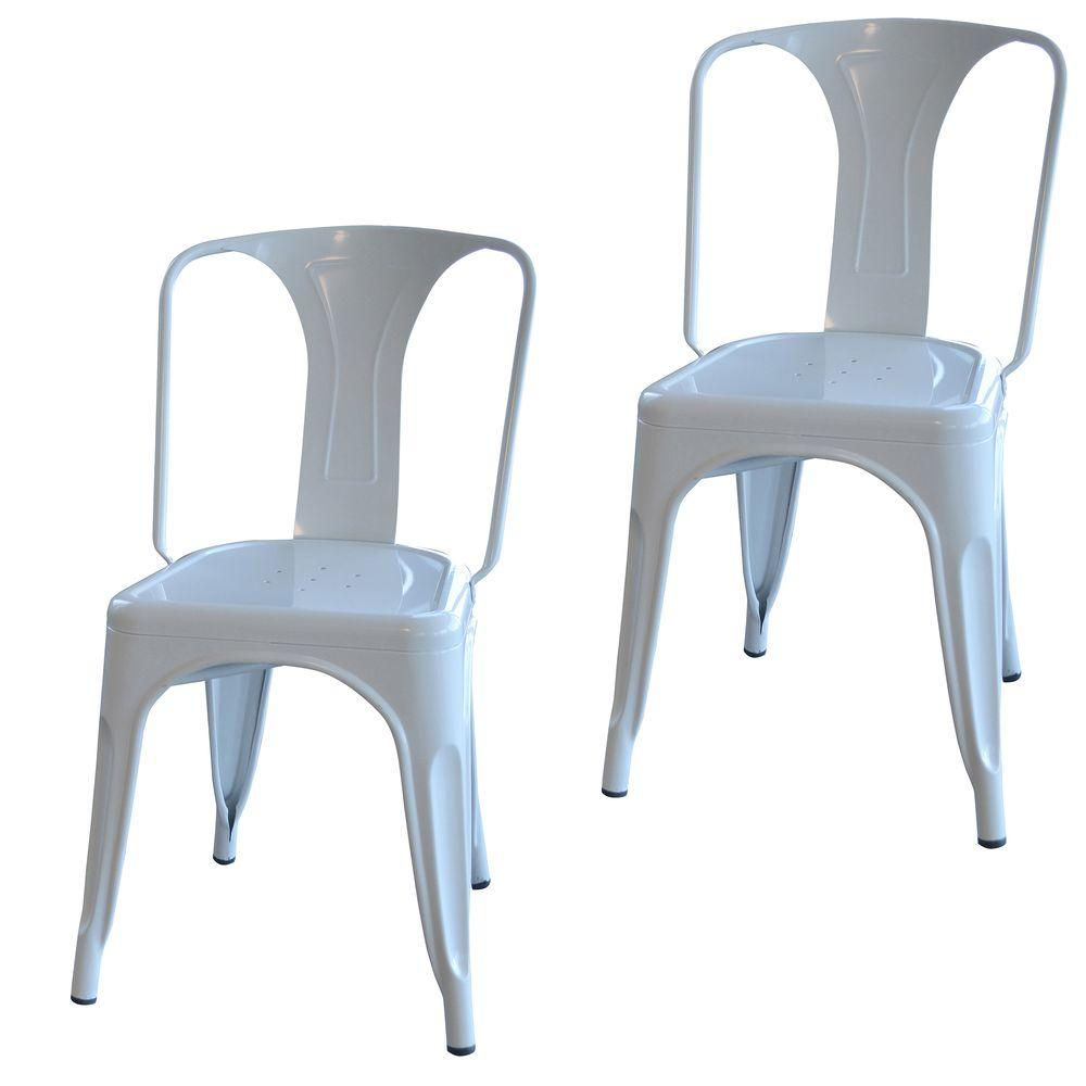 Amerihome White Metal Dining Chair Set Of 2 Bs3530wset The Home Depot