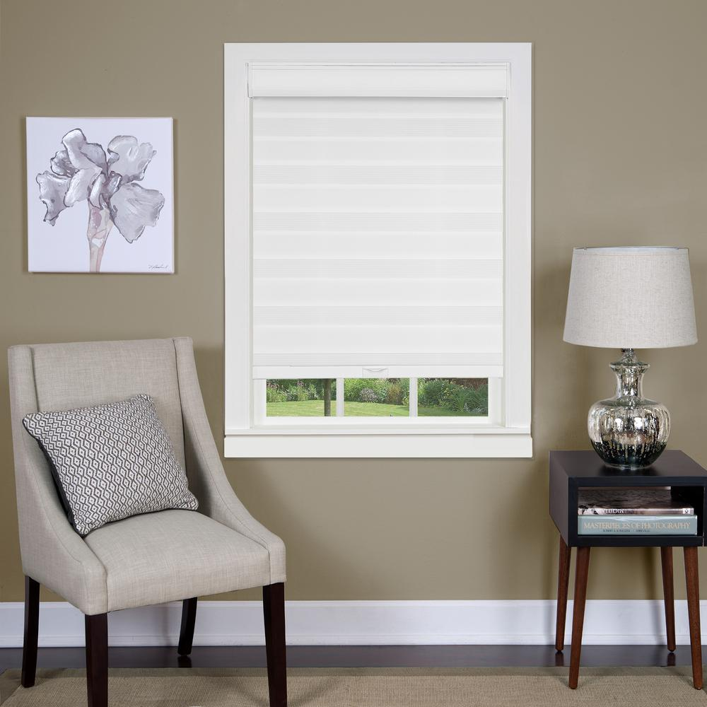 Achim 34 In W X 72 L Celestial Light Filtering White Cordless Double Layered Privacy Roller Shade