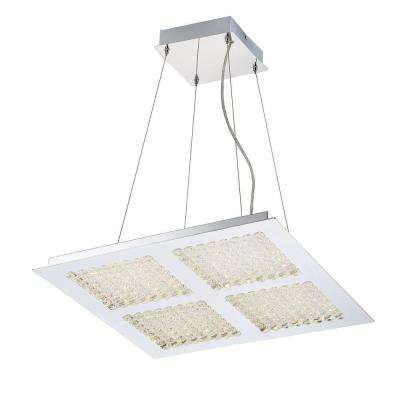 Denso Collection 96-Watt Chrome Integrated LED Chandelier with Glass Shade