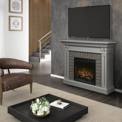 Madison 58 in. Electric Fireplace with Logs in Stone Grey with 28 in. Mantel