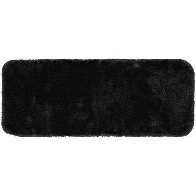 Finest Luxury Black 22 in. x 60 in. Washable Bathroom Accent Rug