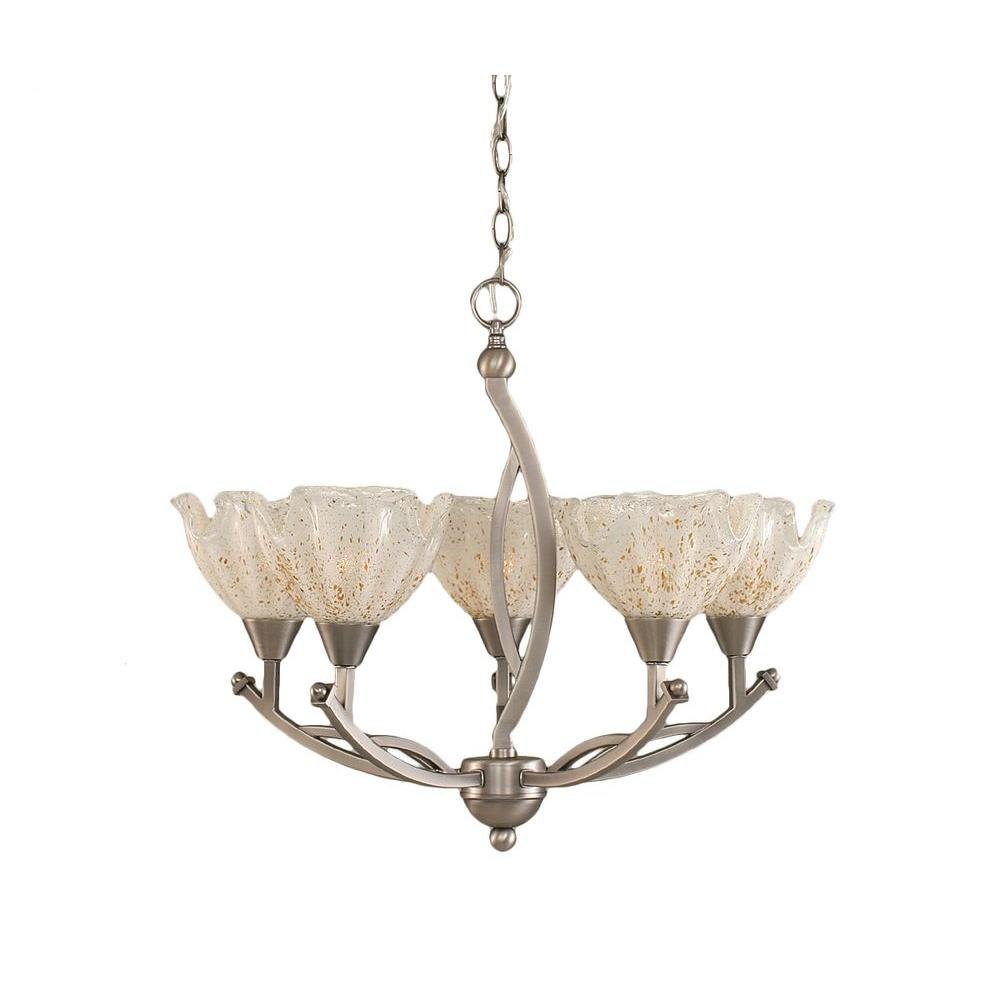 Concord 5-Light Brushed Nickel Chandelier with Gold Ice Glass Shade