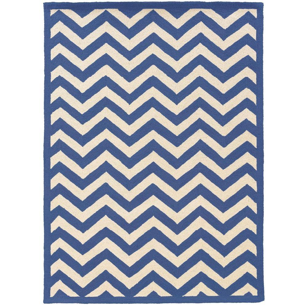 Linon Home Decor Silhouette Chevron Navy And White 1 Ft 10 In X 2 Ft 10 In Indoor Area Rug