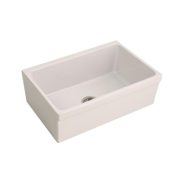 Gannon Farmhouse Apron Front Fireclay 30 in. Single Bowl Kitchen Sink in Bisque